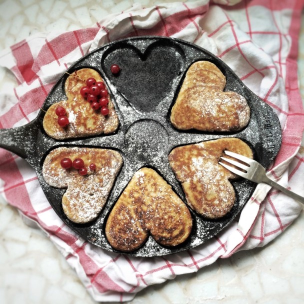 Pancakes on heart shaped griddle