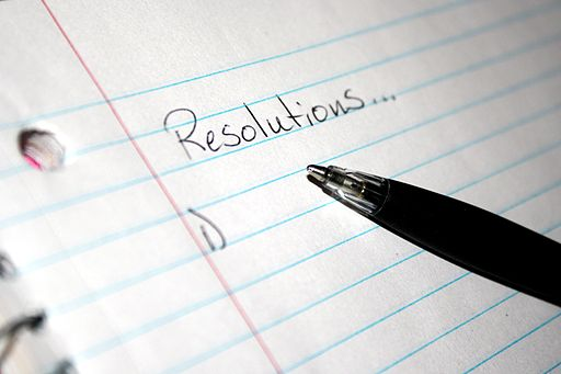 Resolutions on a piece of paper with a pen