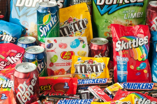 Large group of junk food