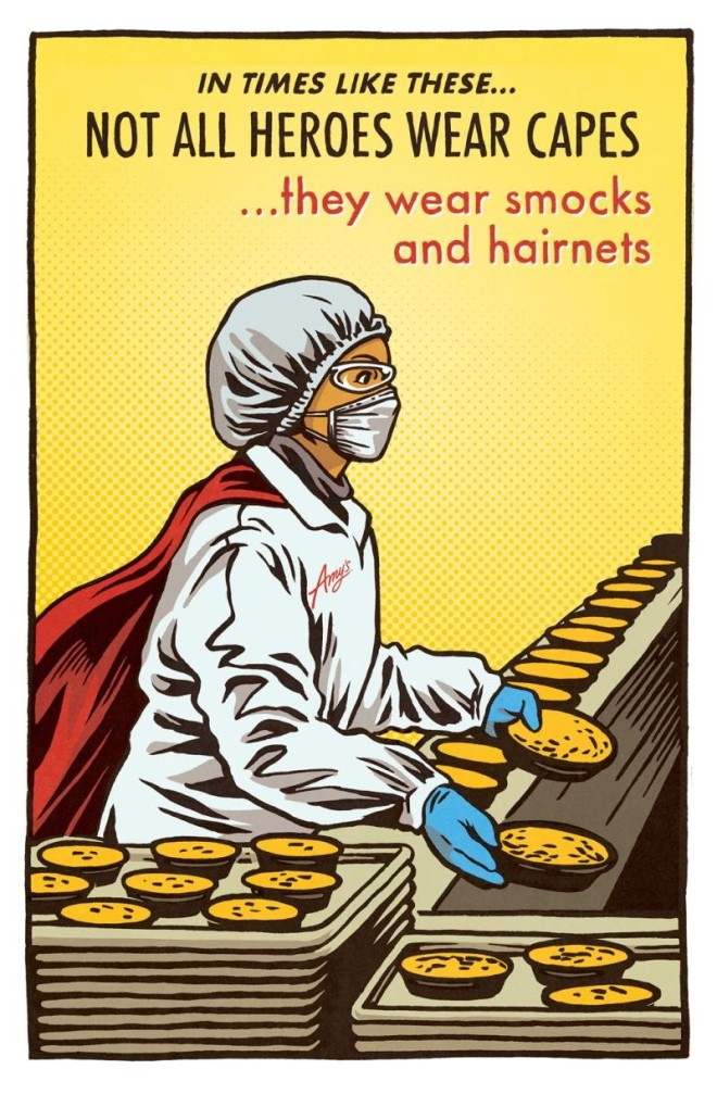 comic of essential food worker working food line
